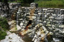 Close up of the marble dam