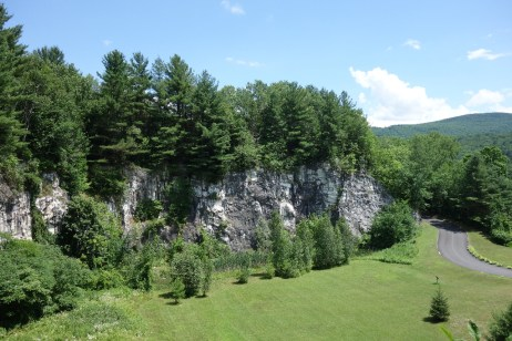 Rock wall of the old marble quarry