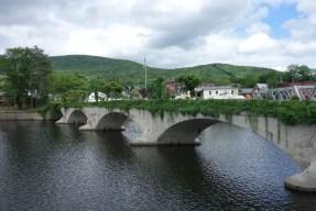 The pedestrian flower bridge seen from the old steel car bridge