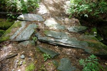 This bridge over the brook is made out of natural stone. Pretty cool, huh?