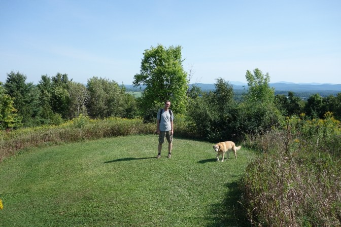 """Mark and Jenny at """"the meadow"""", on the other side of Mt. Philo"""