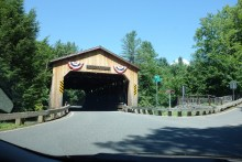 "Covered bridge, driving towards ""our"" maple farm"