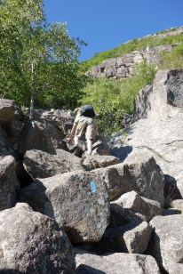 Scrambling up the boulder field