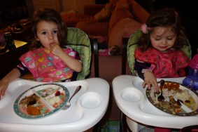 Our twin nieces eating their Thanksgiving dinner