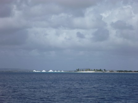 Arriving in Bonaire with its hills of salt