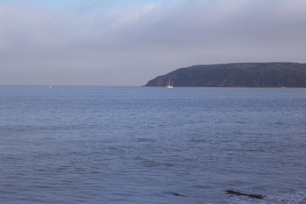 The anchorage of Drakes Bay with Four Choices, seen from the beach