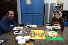 Homemade pizza meal with owner Stefanie