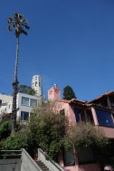 Coit Tower peaks up behind a nice neighborhood in the city