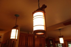 Lamps with wooden frames