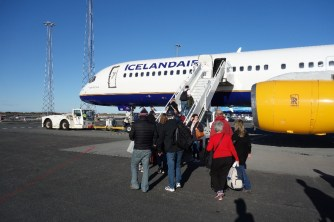 Boarding IcelandAir again on the way to Belgium