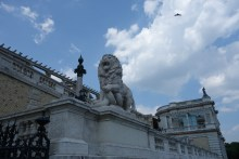 Lion statues are omnipresent in the city