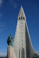 The statue in front of the church is of Leifur Eiríksson, a famous explorer of the Viking era