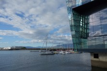 Part of Reykjavik Harbor behind the Harpa