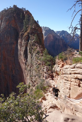 The steep rock is called Angels Landing; its top is the goal.