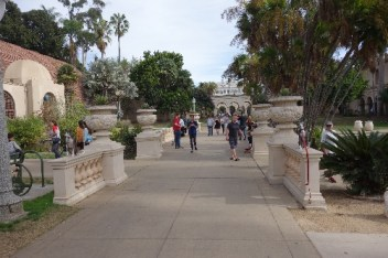 "Can you spot the two ""statues"" at the beginning of the walkway?"