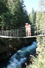 Mark and I on the suspension bridge on the Train Wreck Trail
