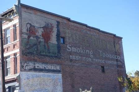 Old tobacco advertisement on the wall