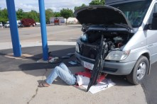 ... and fixing it, at Napa Autoparts in Kanab, UT