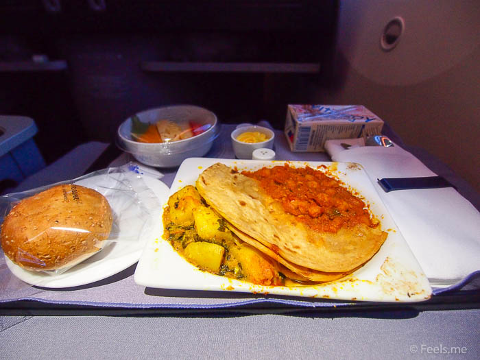 United UA2 SIN SFO: Prata and Potato Curry Breakfast
