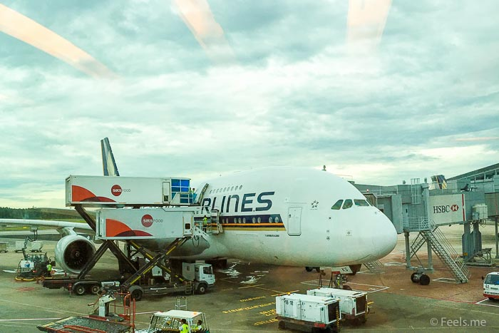 SQ SIN CAN Economy Class A parked SQ A380
