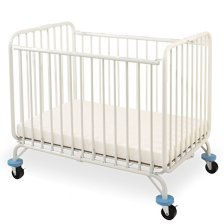 L.A. Baby Deluxe Holiday Folding Metal Crib , White side view