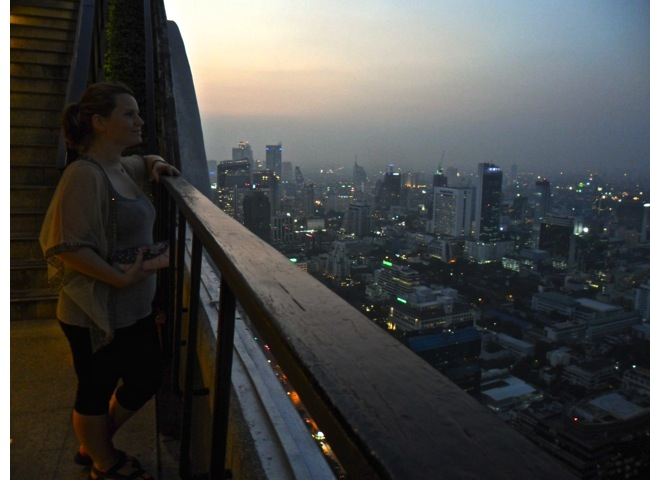 "Andrea's thoughtful shot overlooking Bangkok… ""To buy a £6 cocktail or not!?"""