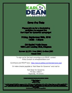 Karl Dean Fundraiser Flyer
