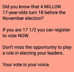 4 Million 17-Year olds turn 18 before November 2020. Register and Vote!