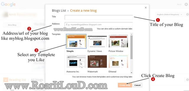 Create Free Blog In Two Steps with Blogger