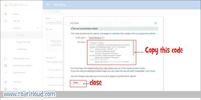 adsense ad copy code and save how to create adsense ad in adsense