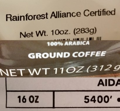 Coffee bag weight differences