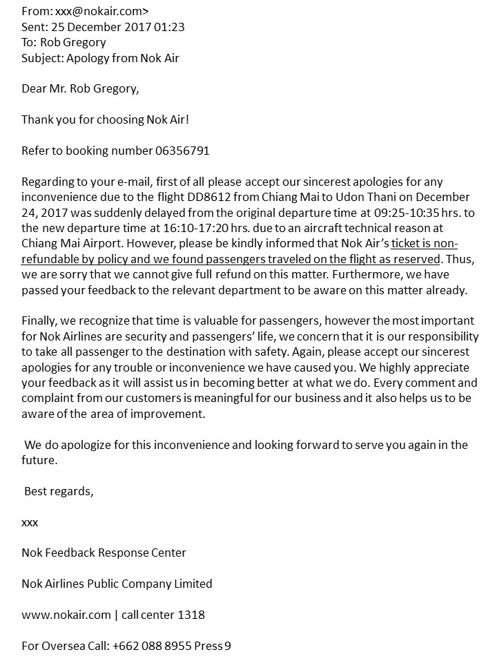 Nok Air - Their first response. Rob Gregory Author
