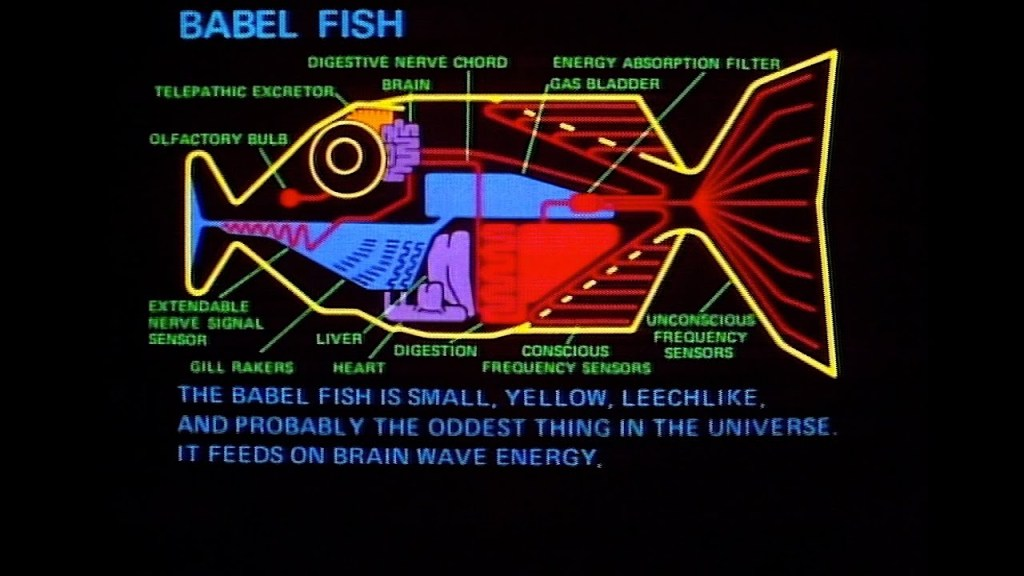 Babel fish still shot from The Hitch Hiker's Guide to the Galaxy - Rob Gregory Author
