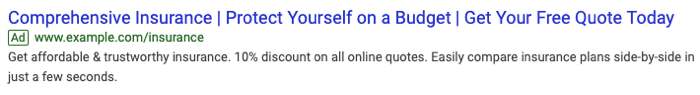 Example of a Google text ad