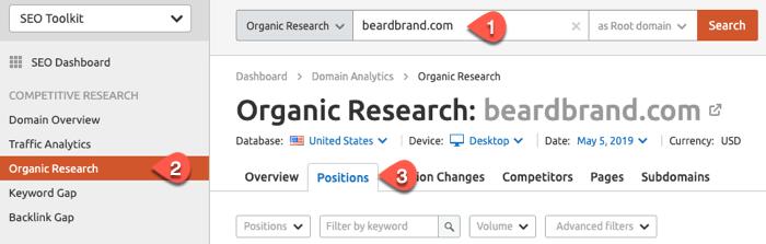 Organic Positions report in SEMrush