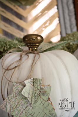 vintage door knob pumpkin with map leaves