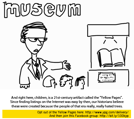 (teacher at a museum) And right here, children, is a 21st-century artifact called the Yellow Pages.