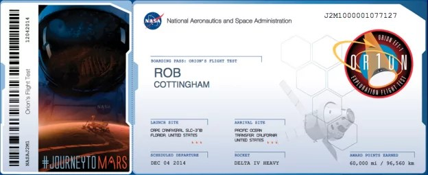 When you look at the launch manifest for December's NASA Orion test flight, you'll find my name