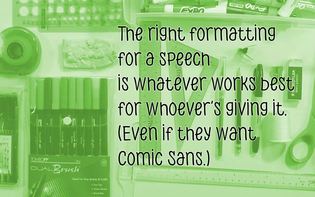 A guide to formatting speaking notes