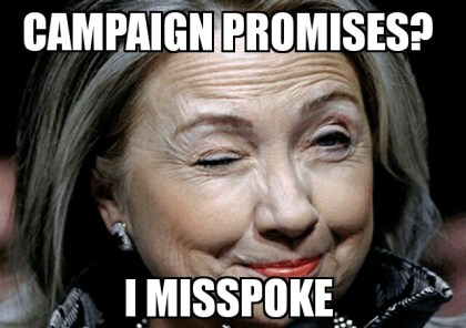 Hillary's Position On Campaign Promises…