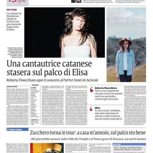 Concerto ELISA - tappa Acireale - mezza pagina giornale