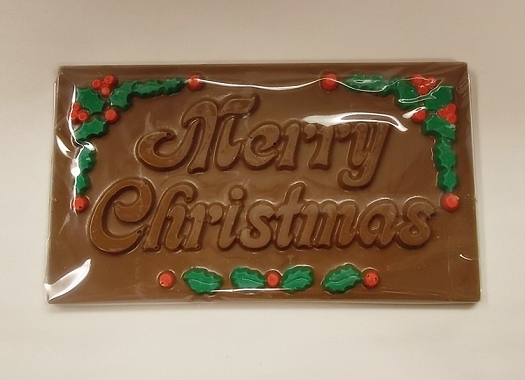 Merry Christmas Chocolate Card W Holly