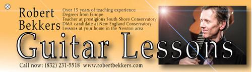 Robert Bekkers, classical guitar teacher, tel: (832) 231 5518 Newton, MA