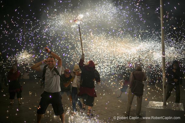 Correfocs de les Festes de Sant Roc, Barcelona. Photo by Robert Caplin