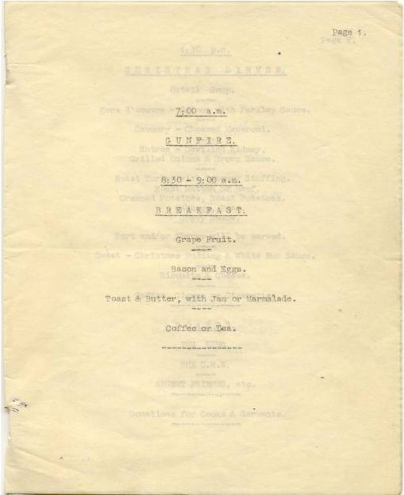 Paiforce Xmas menu, breakfast, 1942