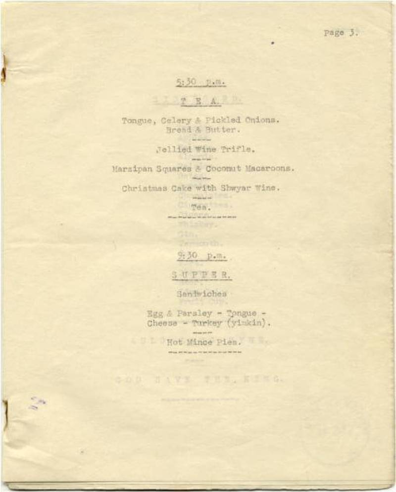 Paiforce Xmas menu, tea and supper, 1942