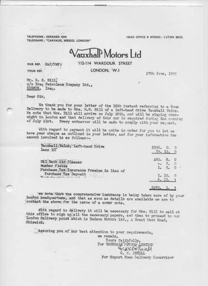 Vauxhall Motors Ltd. receipt