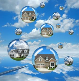 Housing market troubles representing by buble houses about to burst