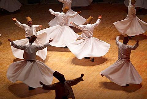 Turkey. Central Anatolia. City of Konya. Whirling Dervishes at the Derviches festival