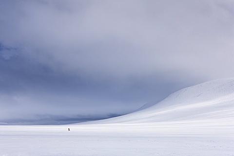 Lone figure skis across Rondane National Park, Norway, Scandinavia, Europe